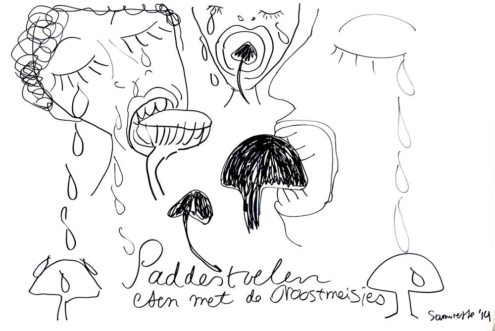 Therese-27-Zoekende-drawing-27-Paddestoelen-Eten-met-de-Troostmeisjes-sept-14