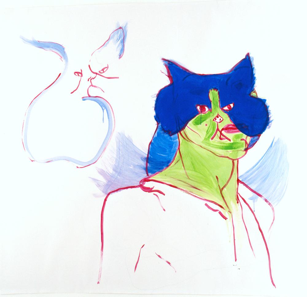 Therese-Zoekende-8-Bijlmer-drawings-green-cat