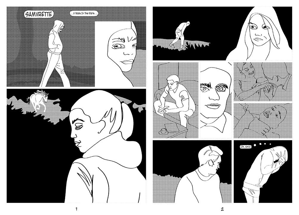 two-page-comic-1-therese-zoekende-samurette-in-de-kaasteeltuin